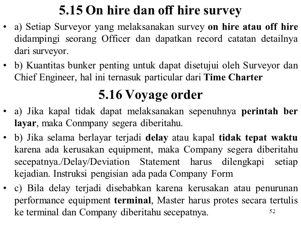 5.15 On hire dan off hire survey