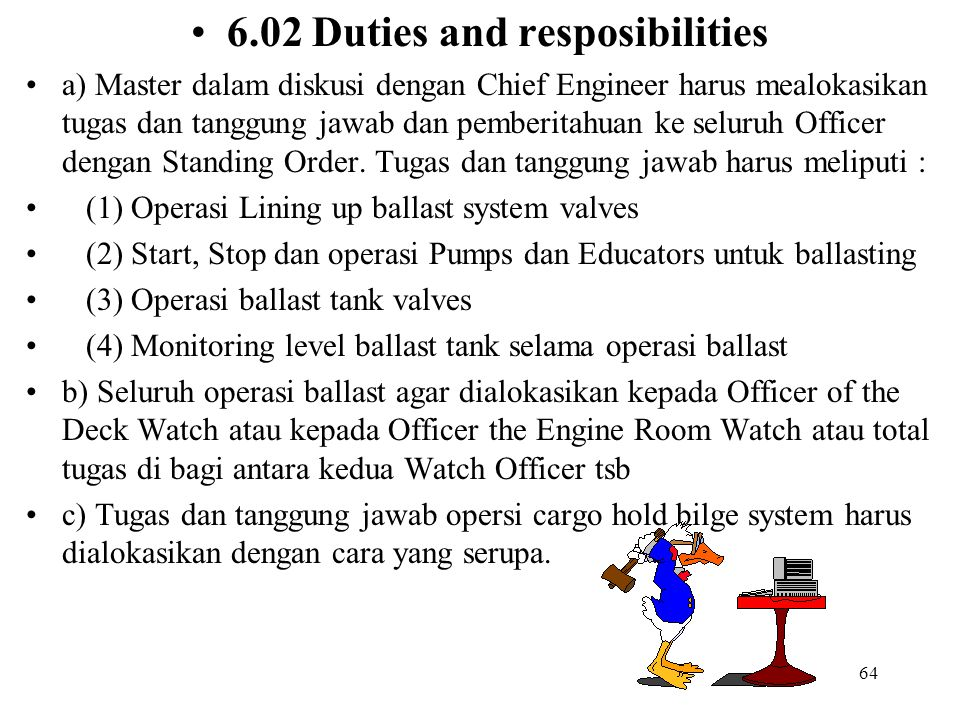 6.02 Duties and resposibilities
