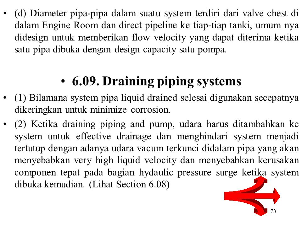 6.09. Draining piping systems