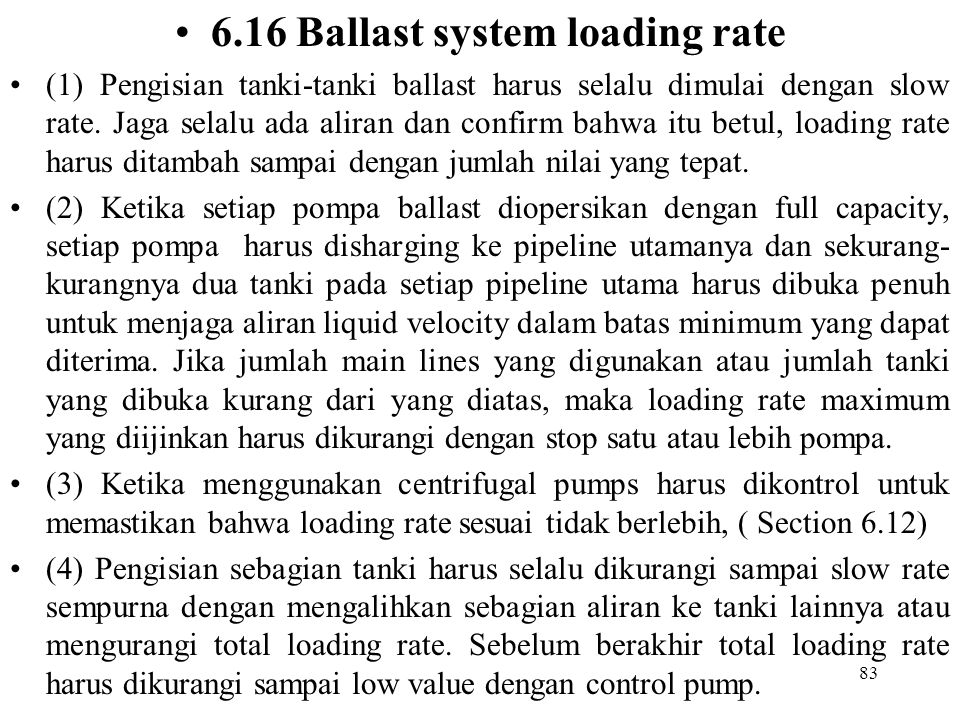 6.16 Ballast system loading rate