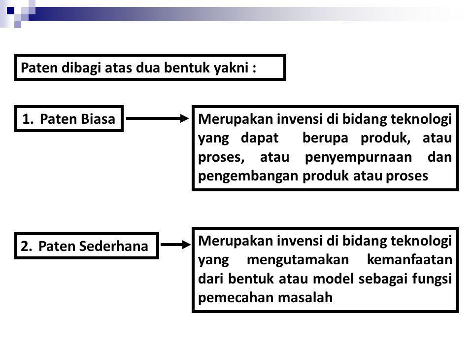 Paten dibagi atas dua bentuk yakni :