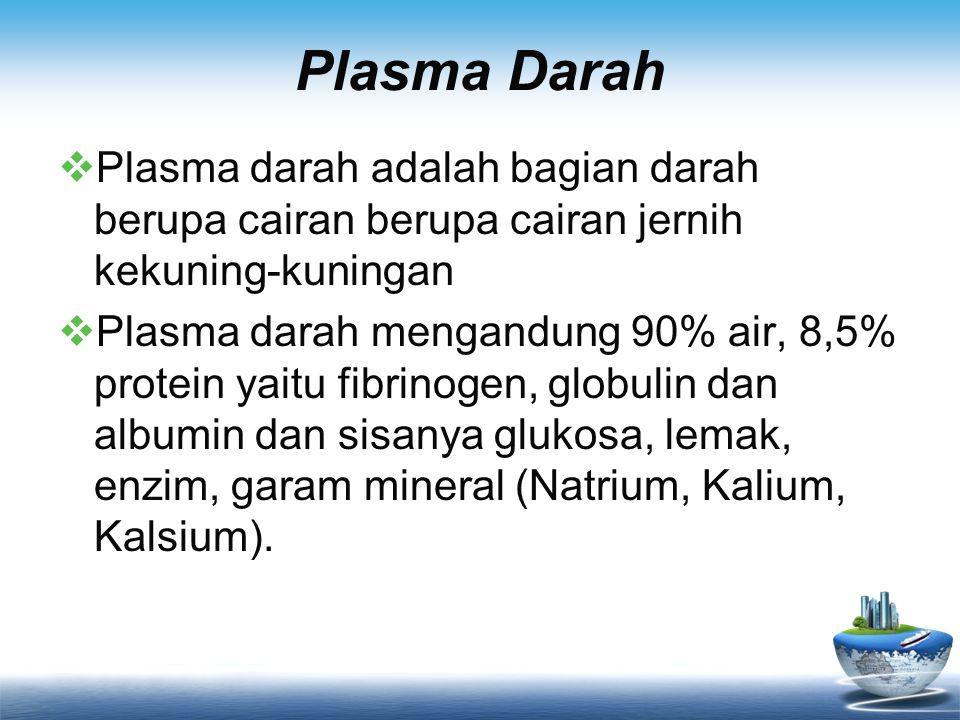 Plasma Darah Plasma darah adalah bagian darah berupa cairan berupa cairan jernih kekuning-kuningan.