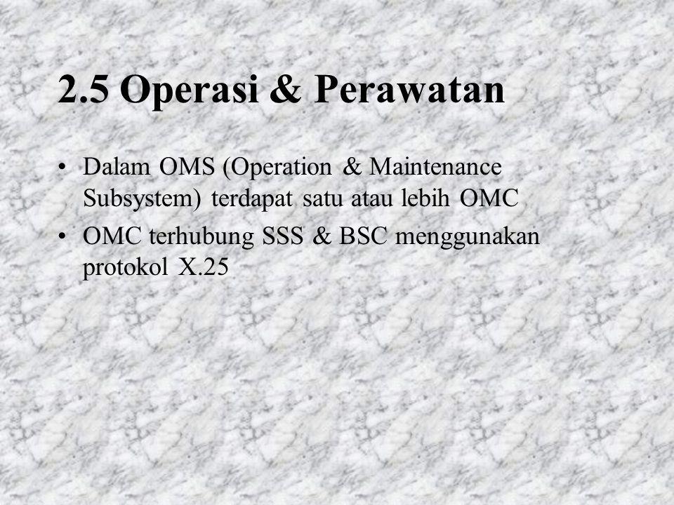 2.5 Operasi & Perawatan Dalam OMS (Operation & Maintenance Subsystem) terdapat satu atau lebih OMC.
