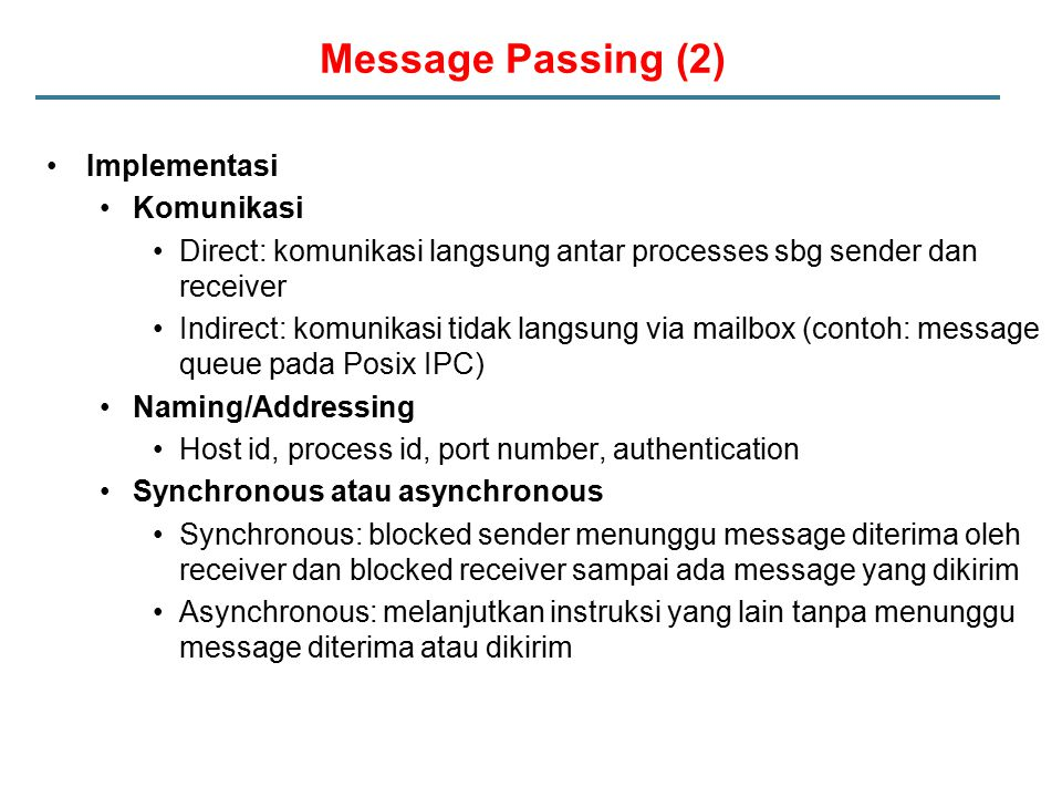Message Passing (2) Implementasi Komunikasi