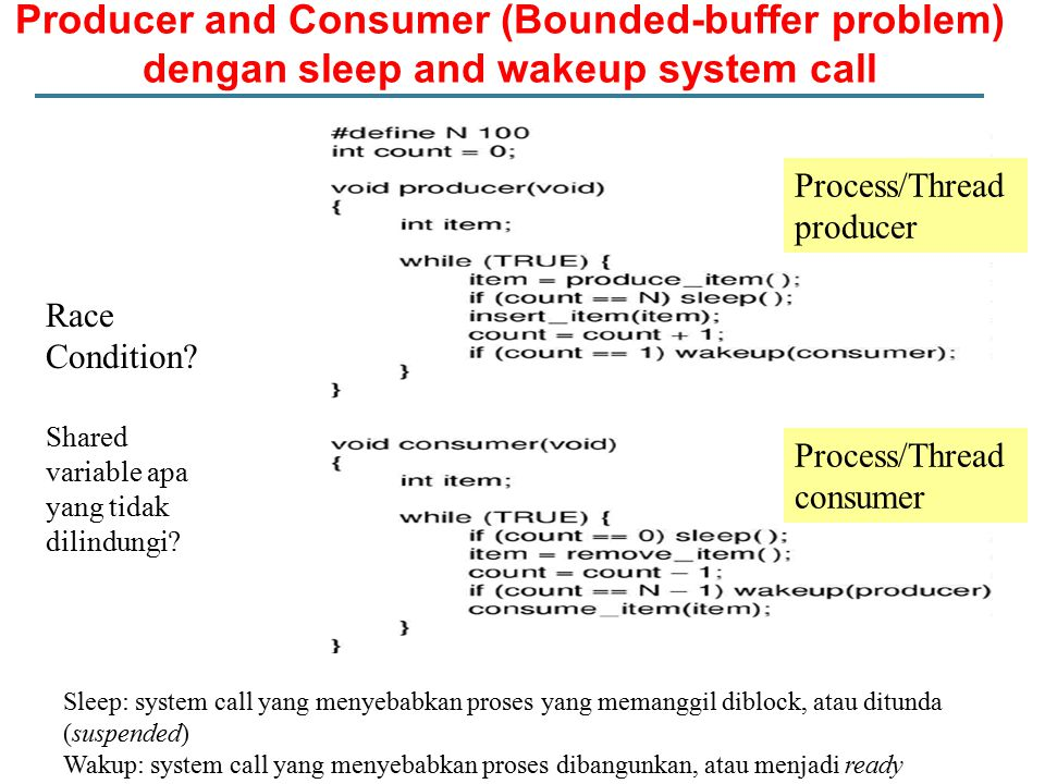 Producer and Consumer (Bounded-buffer problem) dengan sleep and wakeup system call