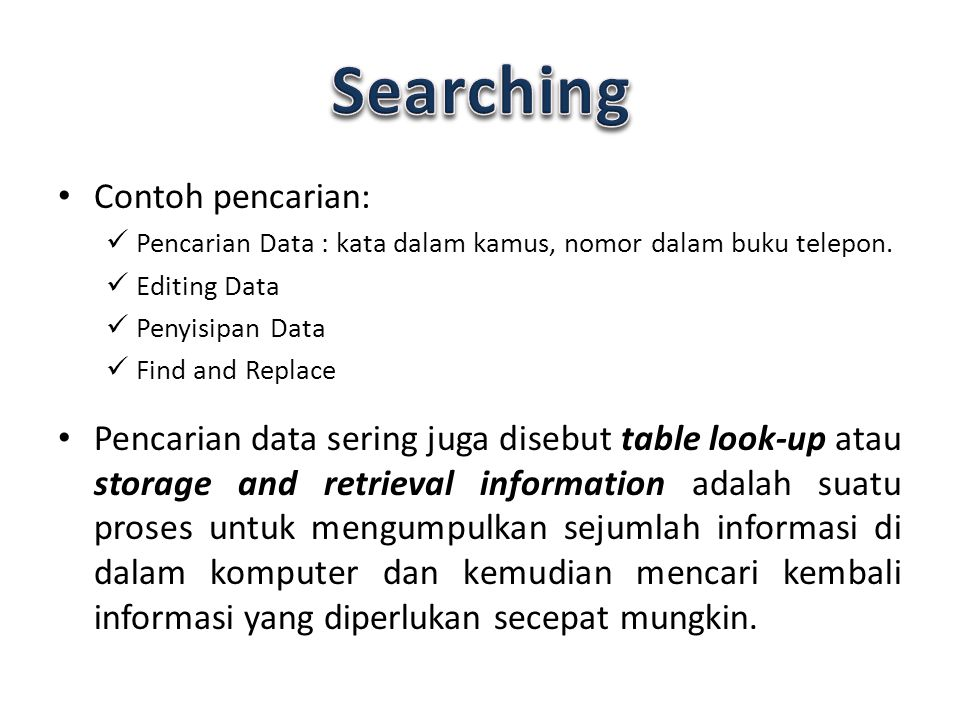 Searching Contoh pencarian: