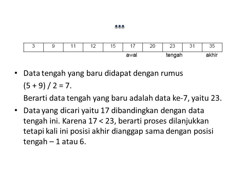 … Data tengah yang baru didapat dengan rumus (5 + 9) / 2 = 7.