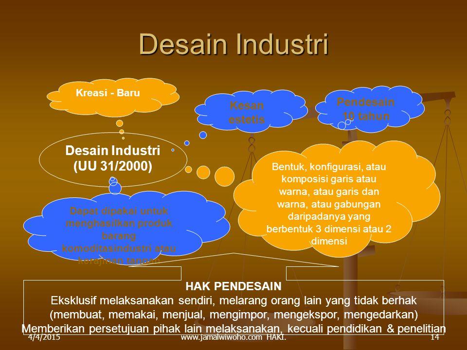 Desain Industri Desain Industri (UU 31/2000) Pendesain Kesan 10 tahun