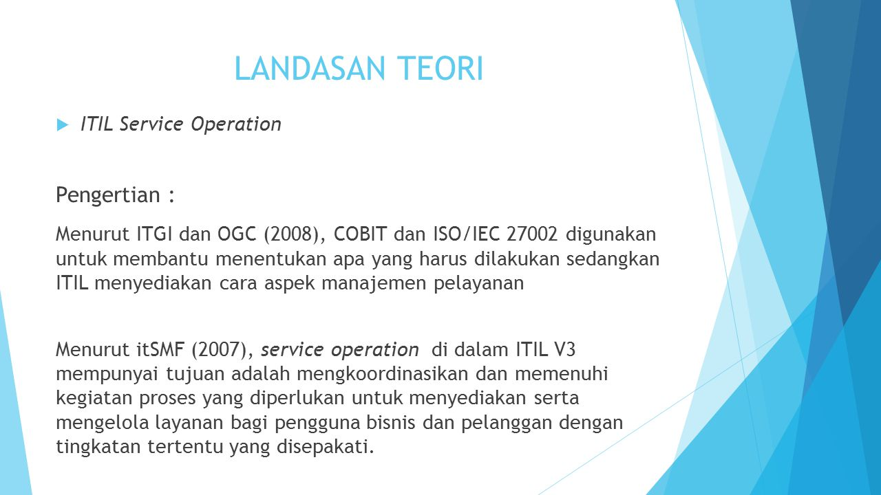 LANDASAN TEORI Pengertian : ITIL Service Operation
