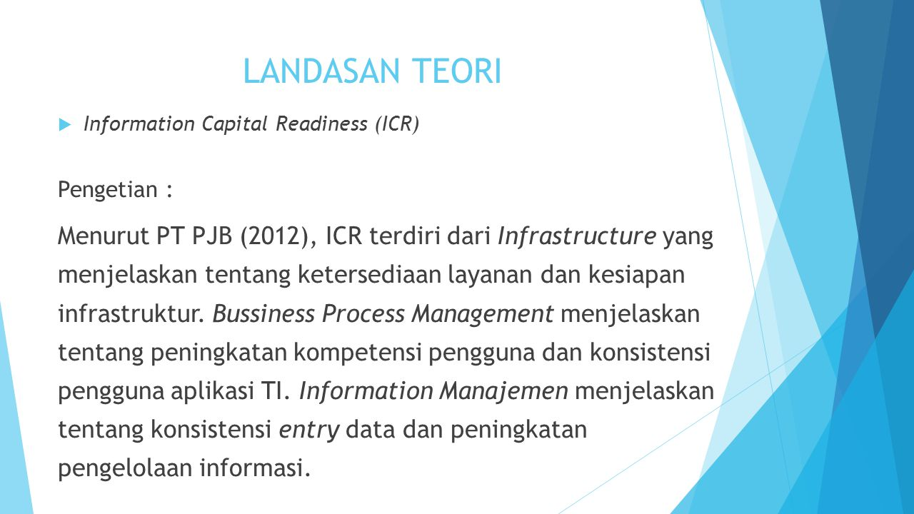 LANDASAN TEORI Information Capital Readiness (ICR) Pengetian :