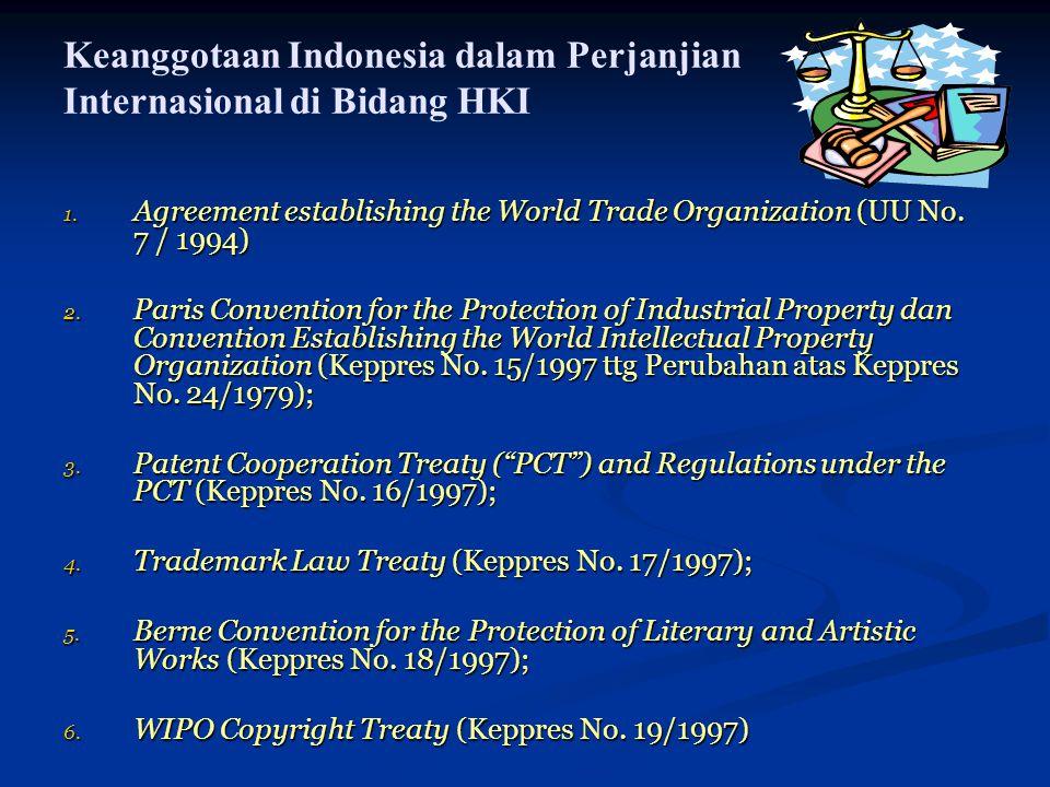 Keanggotaan Indonesia dalam Perjanjian Internasional di Bidang HKI