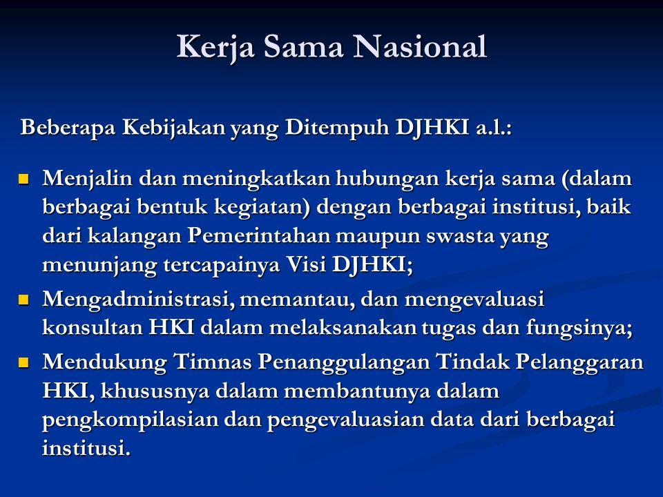 Kerja Sama Nasional Beberapa Kebijakan yang Ditempuh DJHKI a.l.: