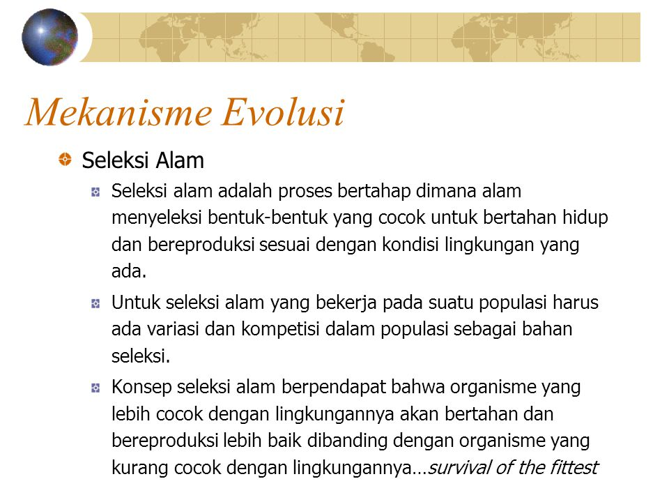 Mekanisme Evolusi Seleksi Alam
