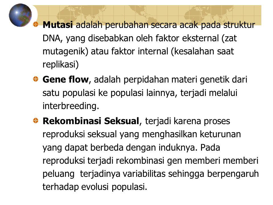 Mutasi adalah perubahan secara acak pada struktur DNA, yang disebabkan oleh faktor eksternal (zat mutagenik) atau faktor internal (kesalahan saat replikasi)