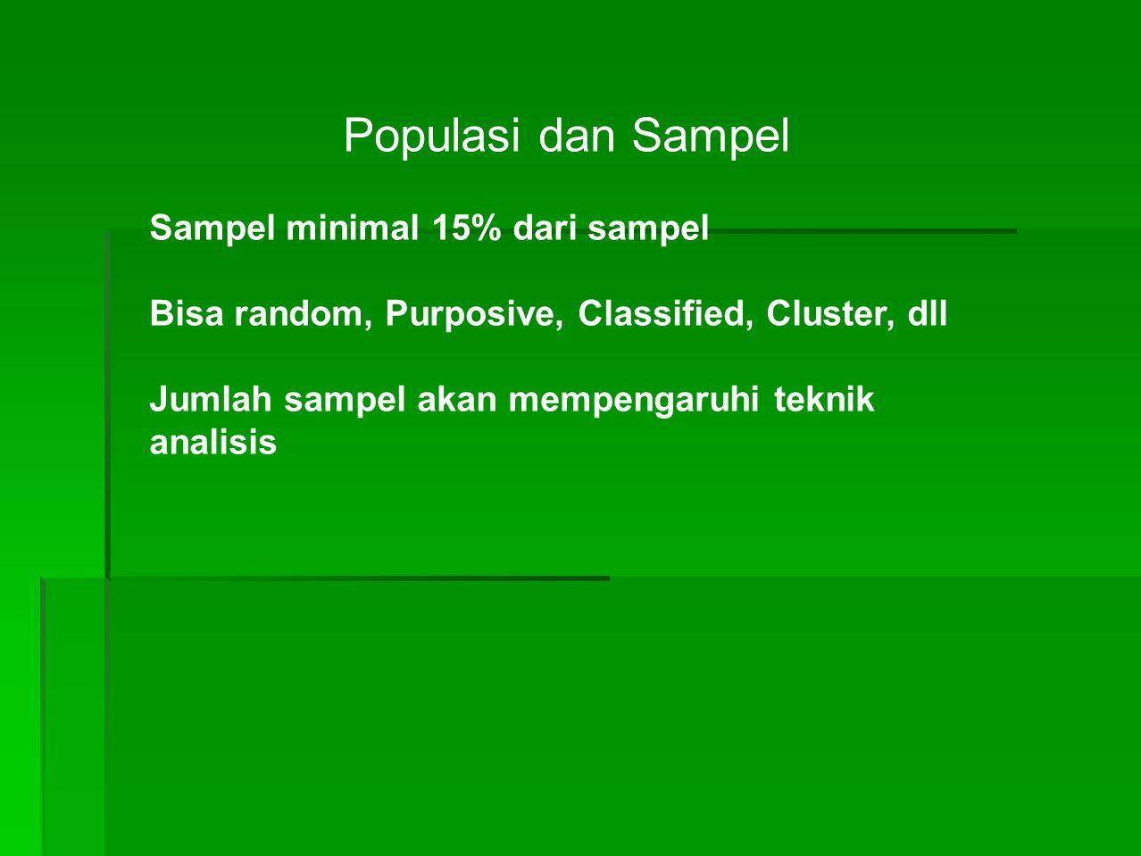 Populasi dan Sampel Sampel minimal 15% dari sampel