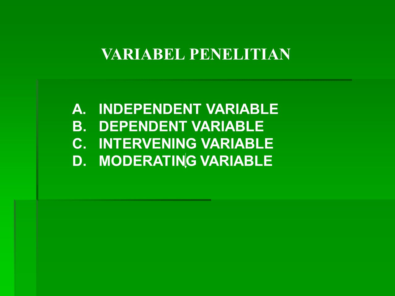 VARIABEL PENELITIAN A. INDEPENDENT VARIABLE B. DEPENDENT VARIABLE