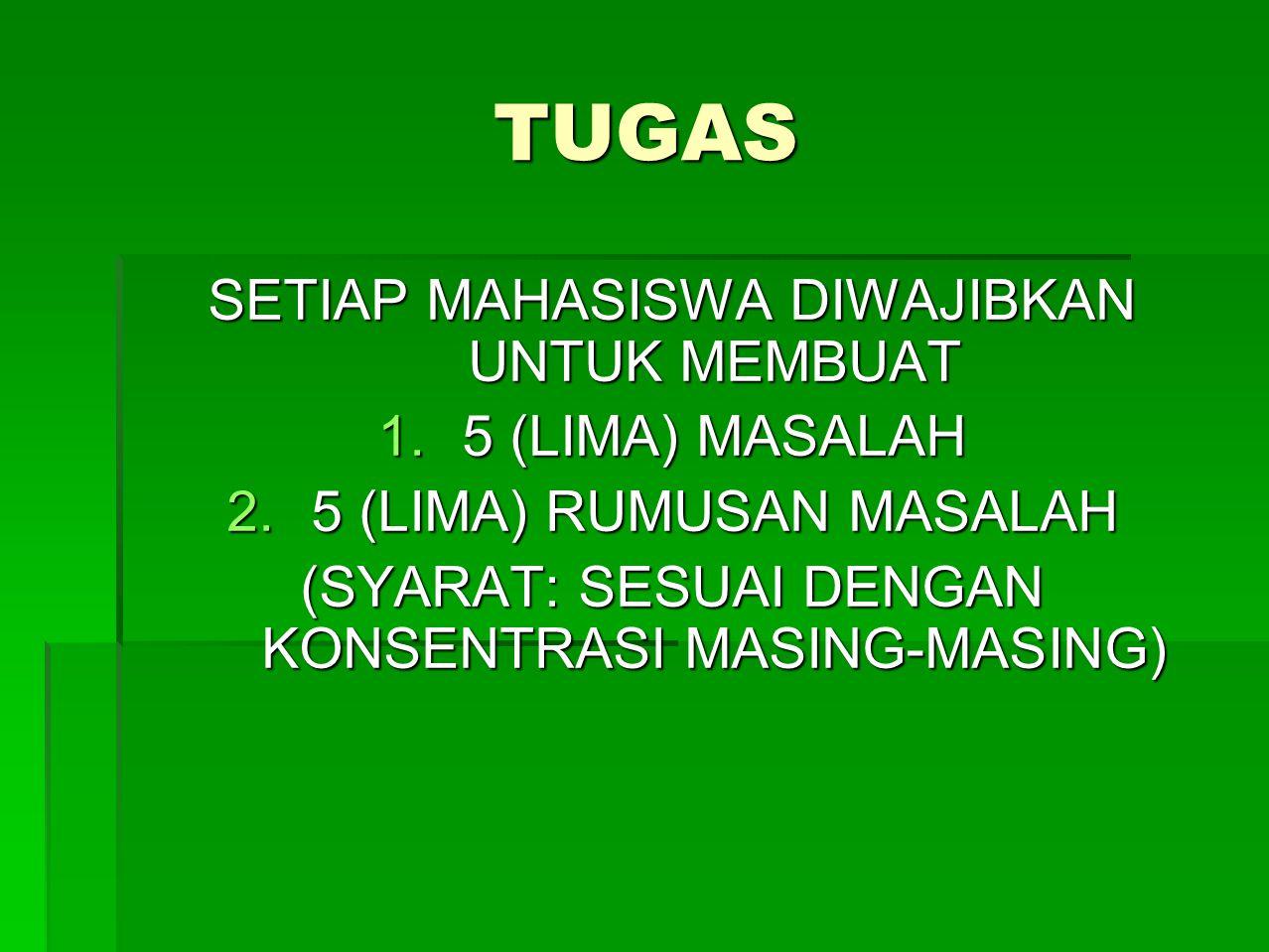 TUGAS SETIAP MAHASISWA DIWAJIBKAN UNTUK MEMBUAT 5 (LIMA) MASALAH