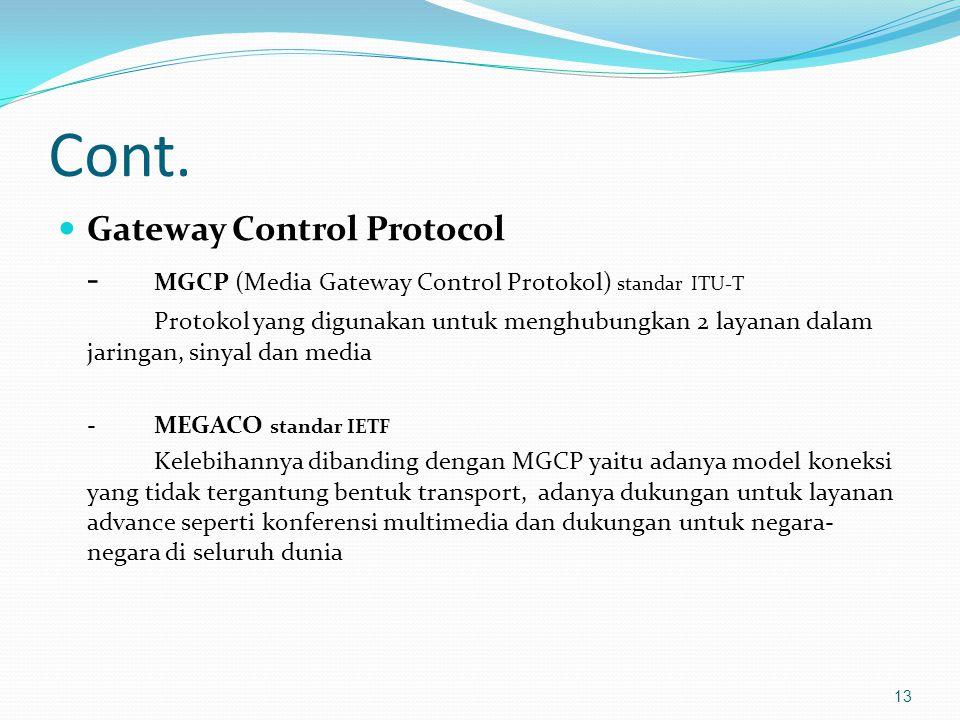 Cont. Gateway Control Protocol