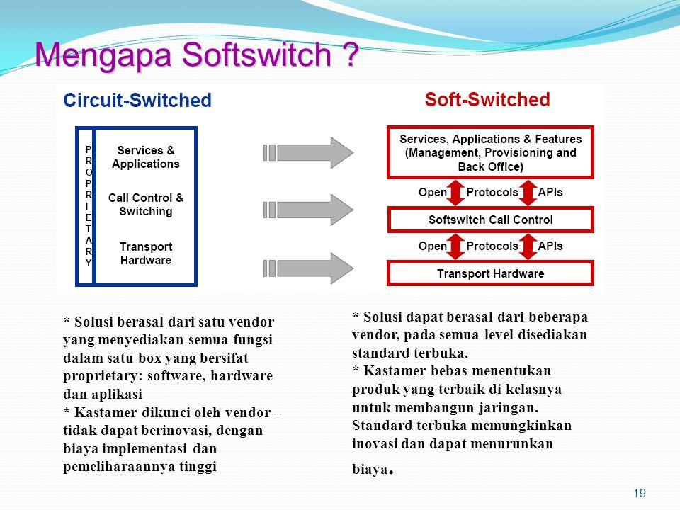 Mengapa Softswitch * Solusi dapat berasal dari beberapa vendor, pada semua level disediakan standard terbuka.
