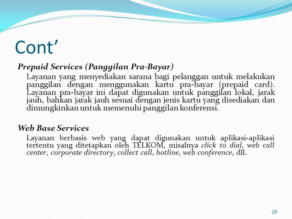 Cont' Prepaid Services (Panggilan Pra-Bayar) Web Base Services