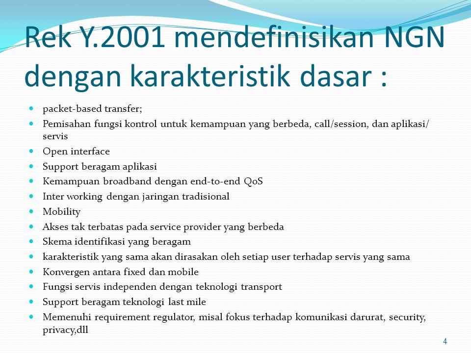 Rek Y.2001 mendefinisikan NGN dengan karakteristik dasar :