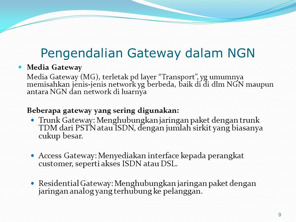 Pengendalian Gateway dalam NGN