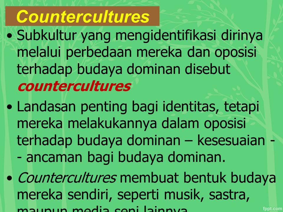Countercultures Subkultur yang mengidentifikasi dirinya melalui perbedaan mereka dan oposisi terhadap budaya dominan disebut countercultures.