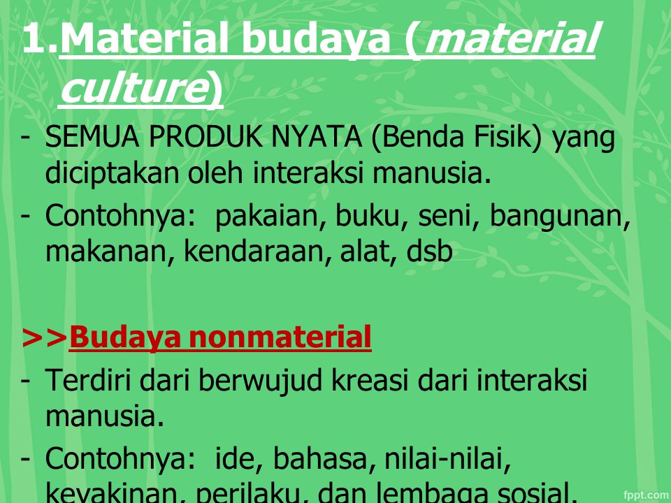 Material budaya (material culture)