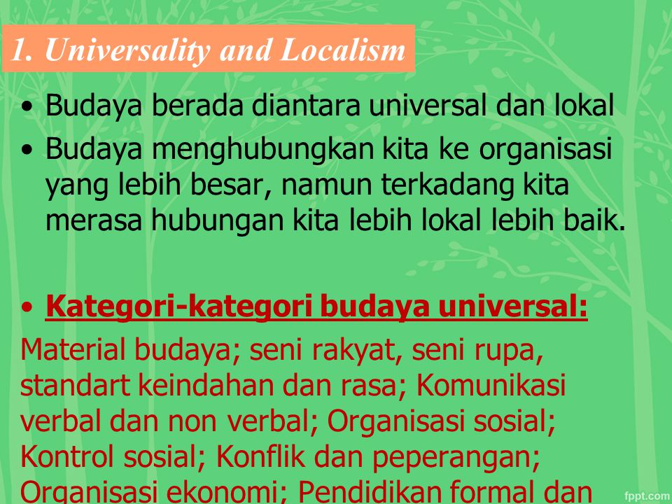 1. Universality and Localism