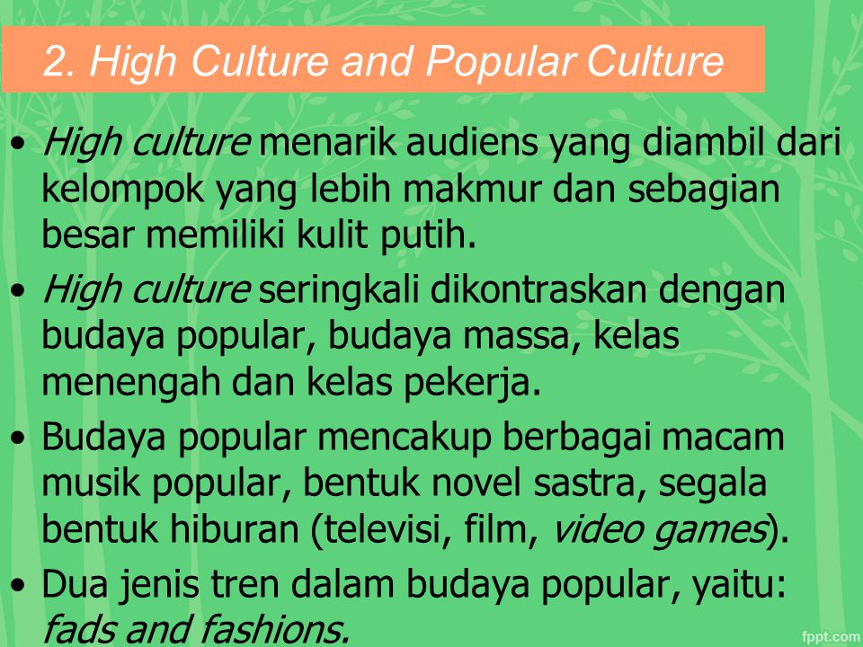 2. High Culture and Popular Culture