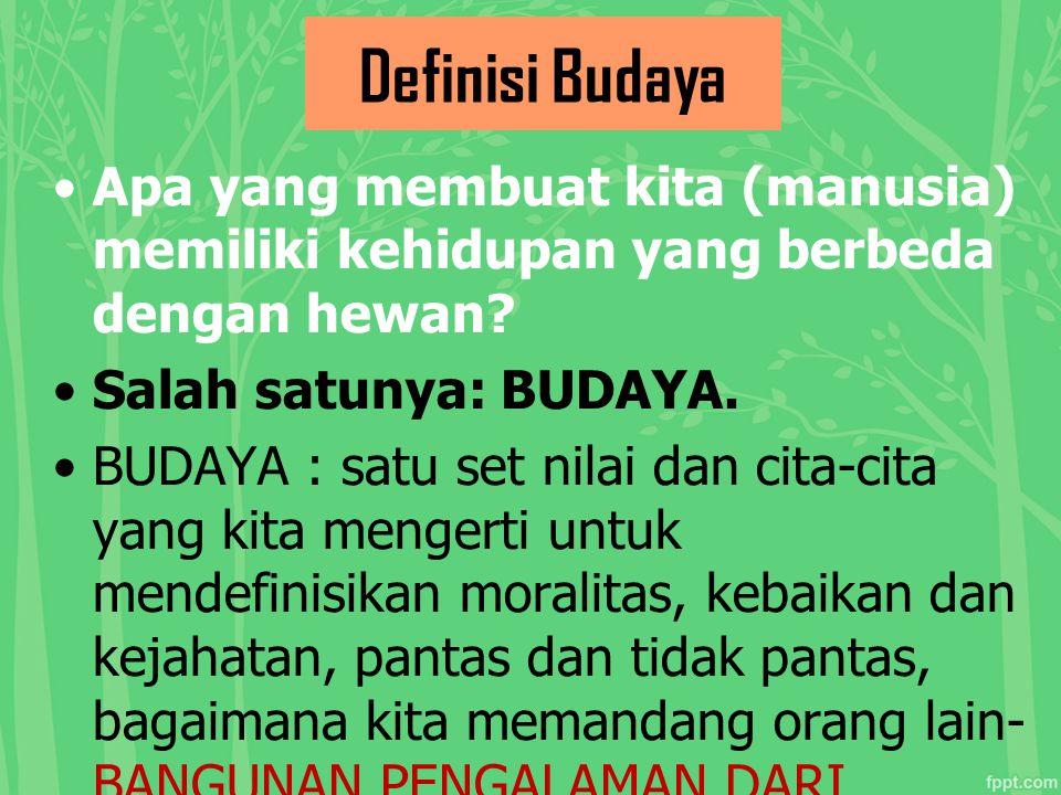 Definisi Budaya Apa yang membuat kita (manusia) memiliki kehidupan yang berbeda dengan hewan Salah satunya: BUDAYA.