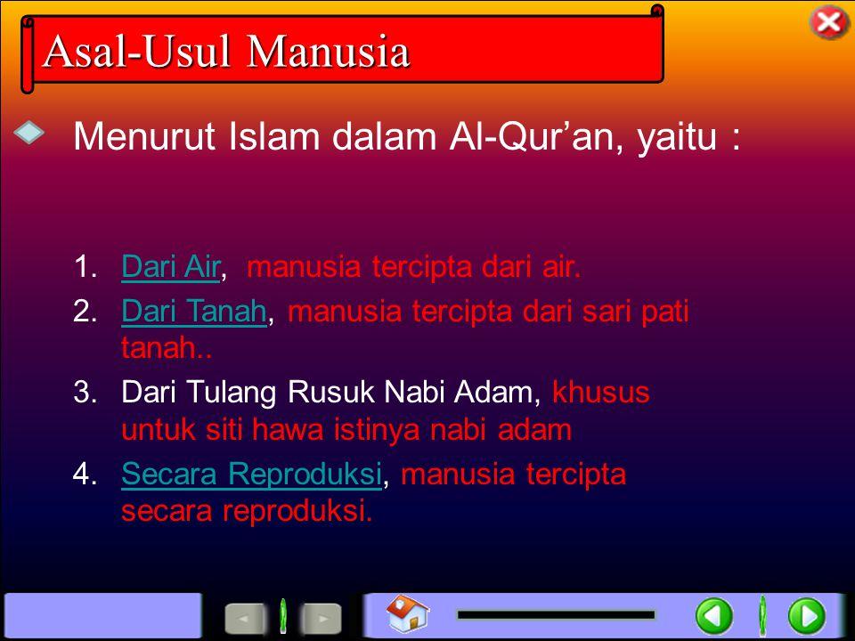 Asal-Usul Manusia Menurut Islam dalam Al-Qur'an, yaitu :