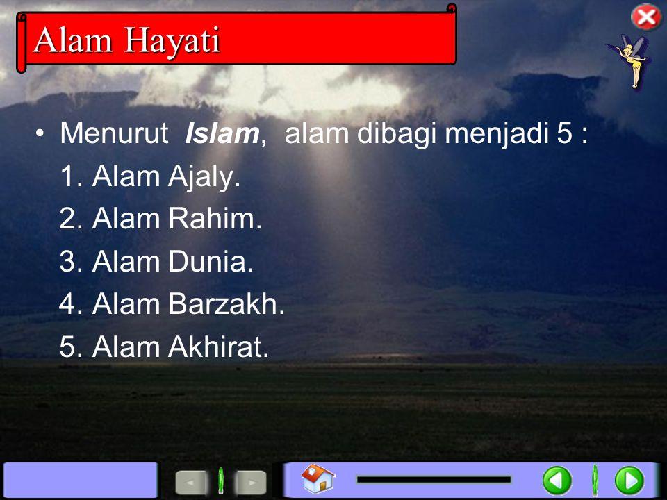 Alam Hayati Menurut Islam, alam dibagi menjadi 5 : 1. Alam Ajaly.