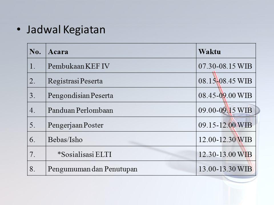 Jadwal Kegiatan No. Acara Waktu 1. Pembukaan KEF IV 07.30-08.15 WIB 2.