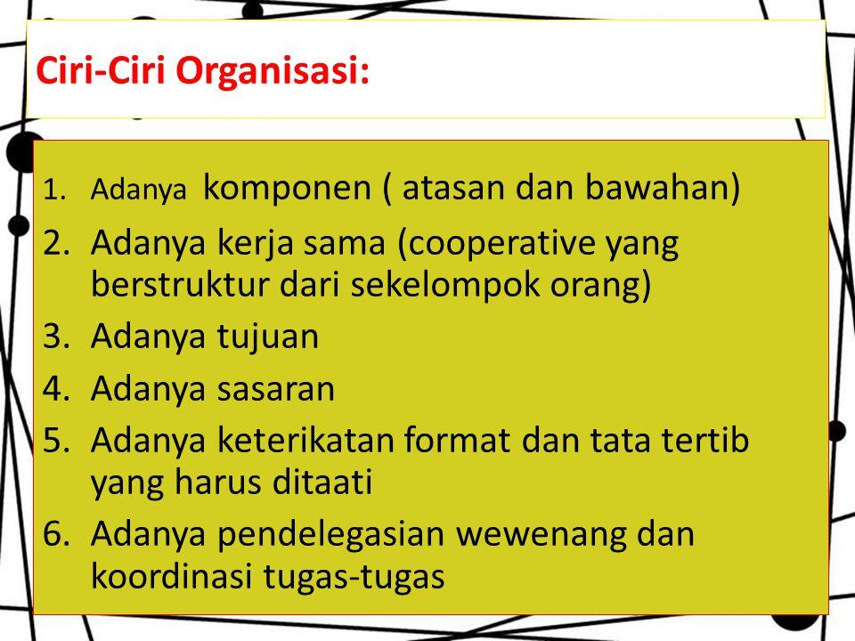 Ciri-Ciri Organisasi: