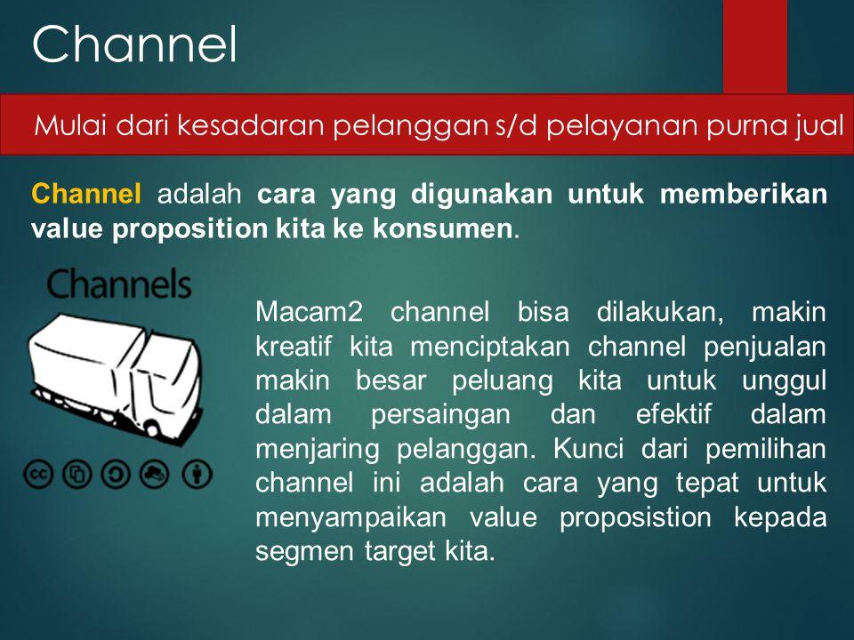 Channel Mulai dari kesadaran pelanggan s/d pelayanan purna jual