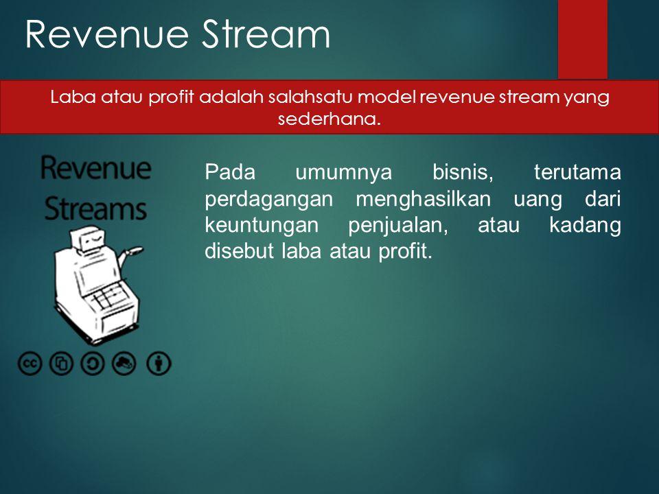 Laba atau profit adalah salahsatu model revenue stream yang sederhana.
