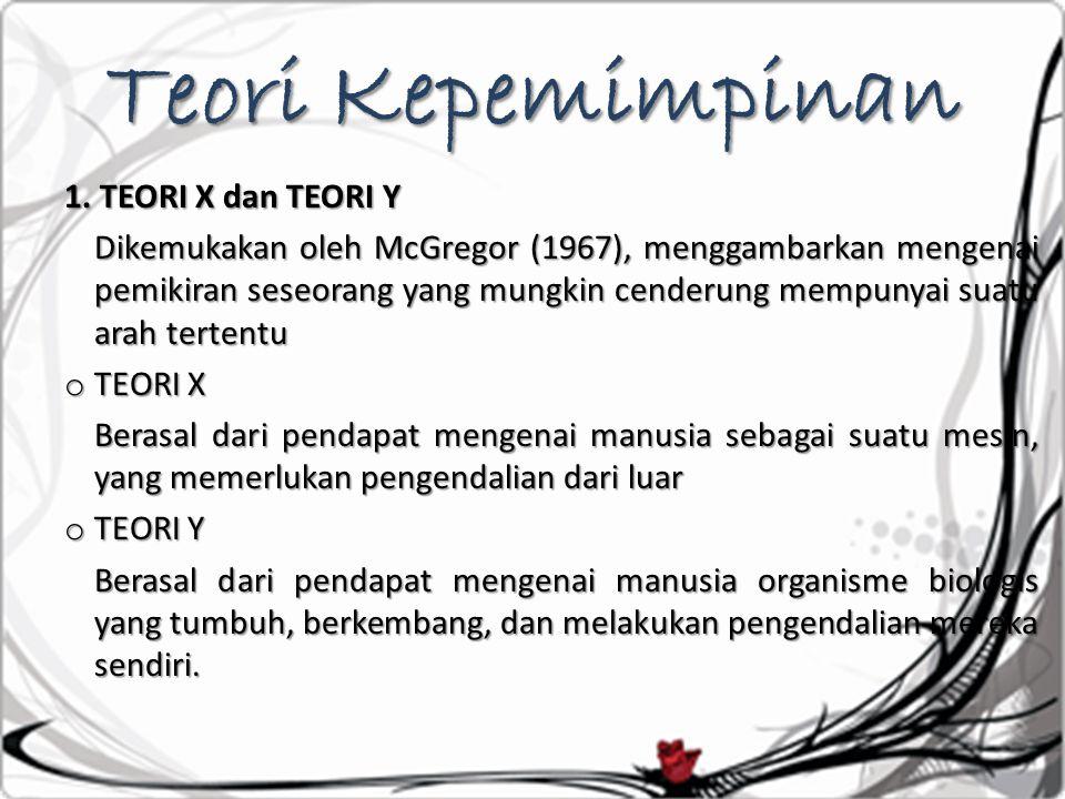 Teori Kepemimpinan 1. TEORI X dan TEORI Y