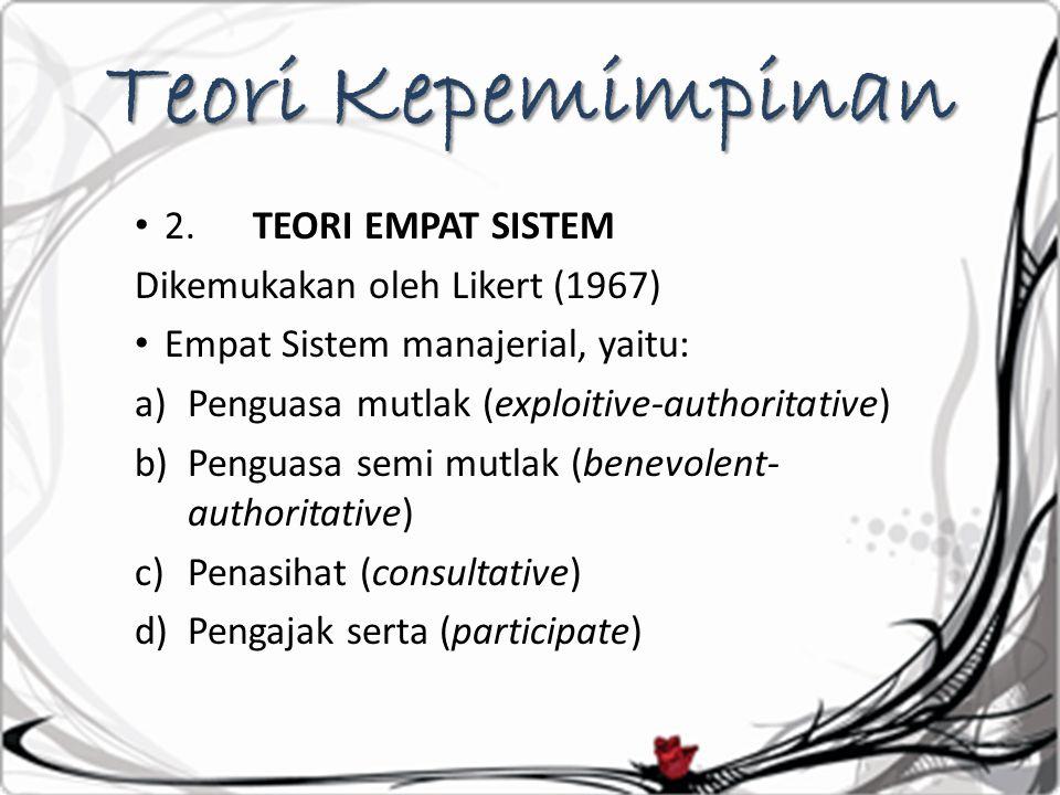 Teori Kepemimpinan 2. TEORI EMPAT SISTEM