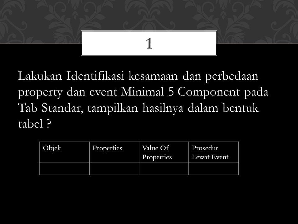 1 Lakukan Identifikasi kesamaan dan perbedaan property dan event Minimal 5 Component pada Tab Standar, tampilkan hasilnya dalam bentuk tabel