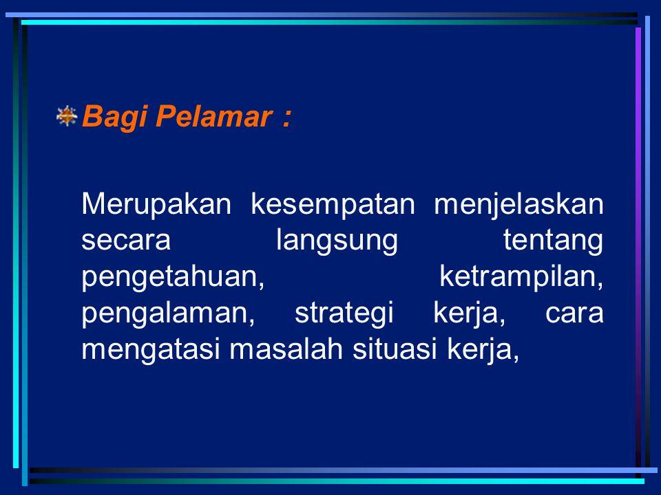 Bagi Pelamar :