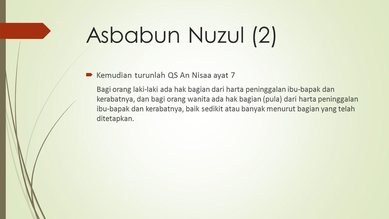 Asbabun Nuzul (2) Kemudian turunlah QS An Nisaa ayat 7