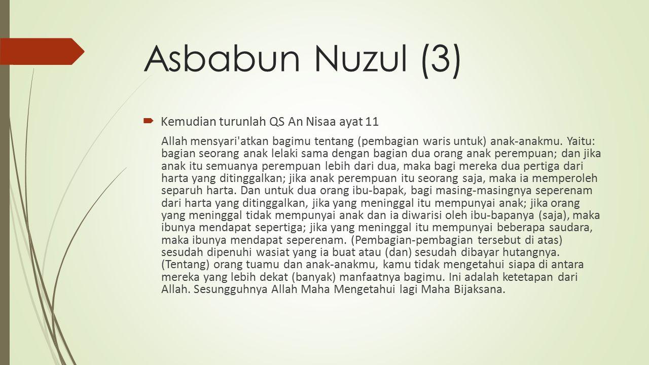 Asbabun Nuzul (3) Kemudian turunlah QS An Nisaa ayat 11