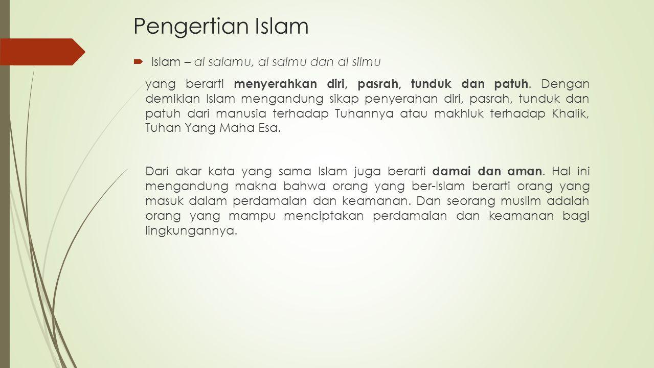Pengertian Islam Islam – al salamu, al salmu dan al silmu