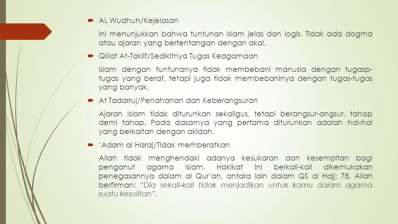 AL Wudhuh/Kejelasan Ini menunjukkan bahwa tuntunan Islam jelas dan logis. Tidak ada dogma atau ajaran yang bertentangan dengan akal.