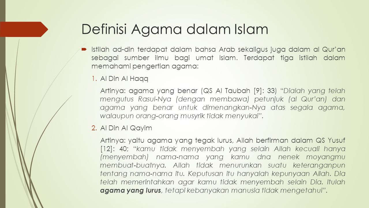 Definisi Agama dalam Islam