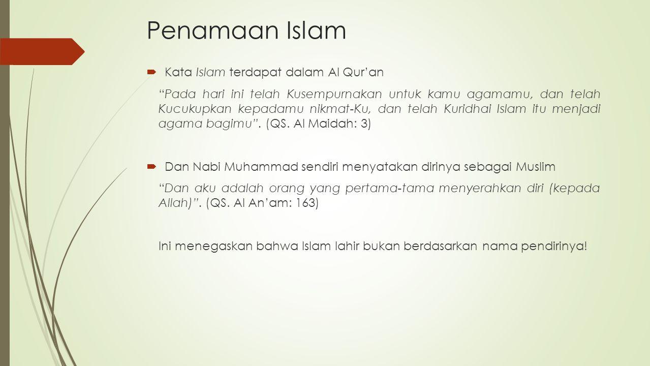 Penamaan Islam Kata Islam terdapat dalam Al Qur'an