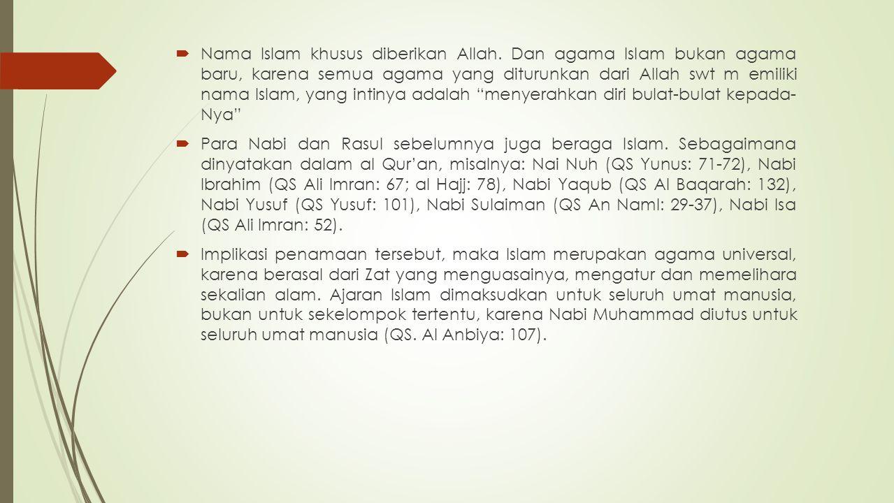 Nama Islam khusus diberikan Allah
