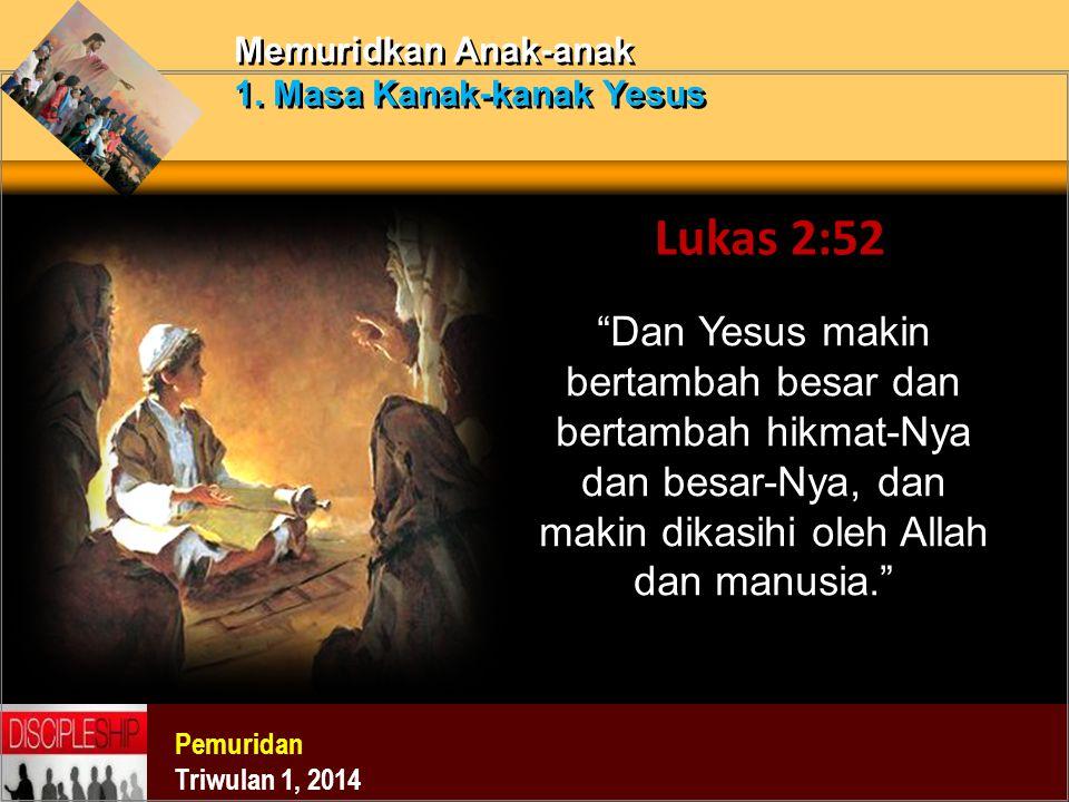 Memuridkan Anak-anak 1. Masa Kanak-kanak Yesus