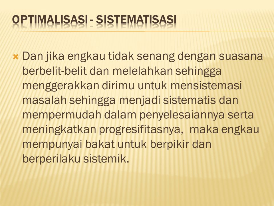 Optimalisasi - Sistematisasi